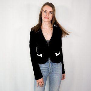 ALICE + OLIVIA Black & White Velvet Blazer Jacket